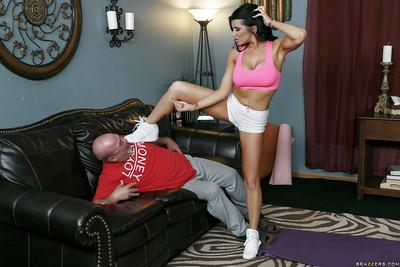 Latina housewife Romi Rain giving blowjob to huge black penis
