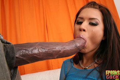 Latina MILF babe Eva Angelina with huge boobs sucking on a big dick