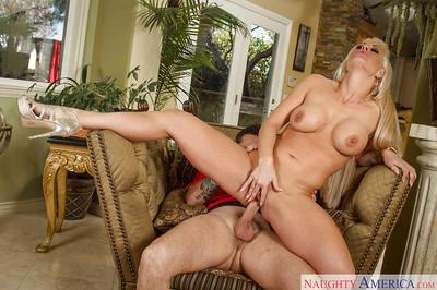 Sensual blonde Holly Heart is being pounded after deep blowjob