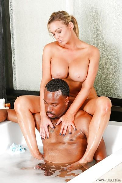 Interracial massage and hardcore sex with busty Abbey Brooks