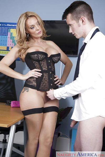 Busty stocking and bodice adorned MILF teacher Stacey Saran taking cumshot