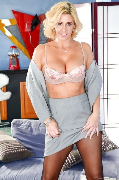 Busty blonde mom Phyllisha Anne posing in crotchless panties