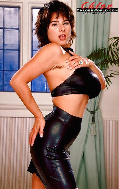 Leggy Euro brunette Chloe Vevrier revealing massive boobs and ass