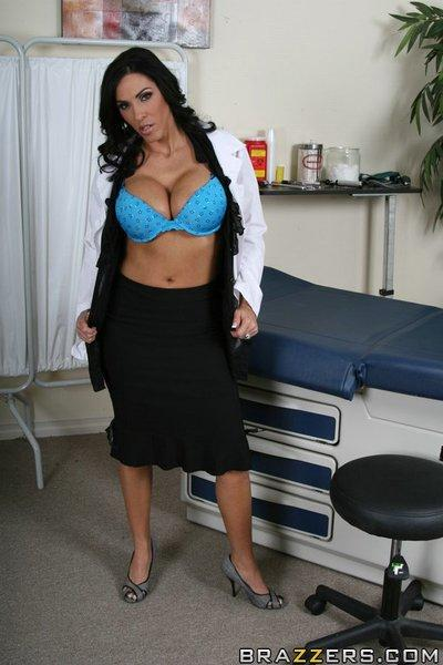 Veronica Rayne with huge boobs in uniform strips to her underwear
