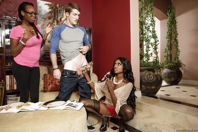 Ebony milf Diamond Jackson pleases her man with first class blowjob and handjob