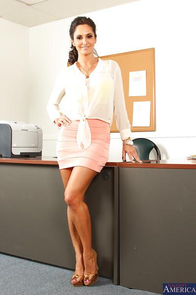 Awesome mature brunette Ava is a stunning milf in the office