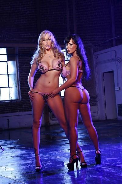 Mature bombshells Lisa Ann & Julia Ann perform a sizzling lesbian scene
