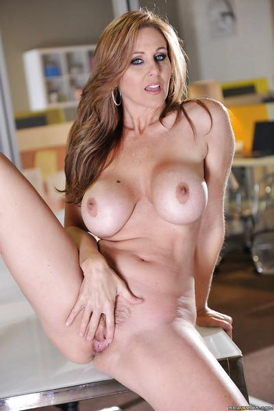 Stunning milf babe Julia Ann is touching her tight cute vagina