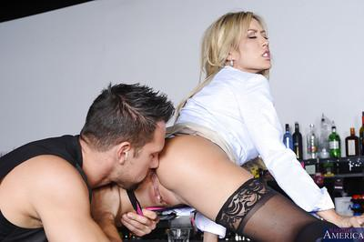 Sweet blonde office milf Capri wants to be penetrated in that mouth