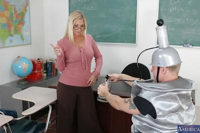 Ample-breasted blonde teacher has some hardcore fun with her nasty hung student