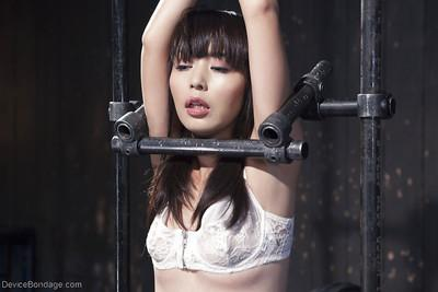 Asian cutie Marica Hase covered in painful clothespin pegging and hot wax