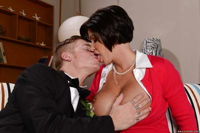 Cougar milf Shay Fox is seducing her younger lover with big titties