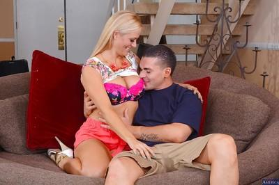 Big cock penetrates tight pussy of an cougar milf Holly Heart