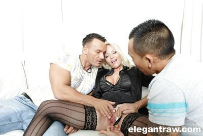 Hardcore MMF threesome sex with blonde European pornstar Sarah Simon