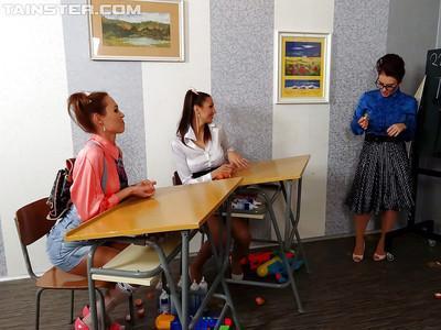 Kinky teacher has some messy fun two seductive schoolgirls