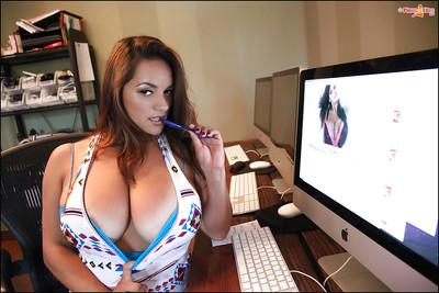 Buxom Latina MILF Monica Mendez exposing her massive hooters