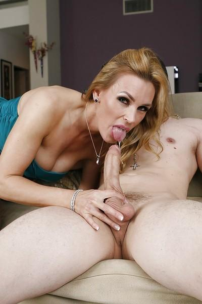Sultry cougar blows and fucks a hard dick for cum on her face and round jugs