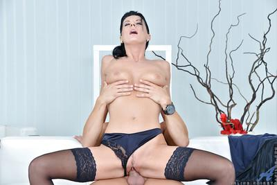 Mature Euro MILF Celine Nioret taking cumshot on anus after riding cock