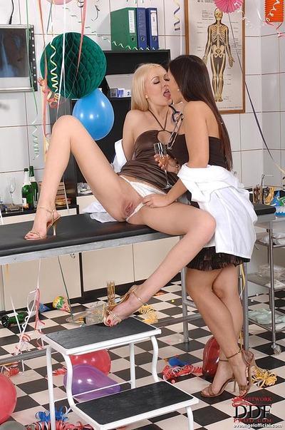 Adorable pornstars Eve Angel & Logan having some lesbian fun