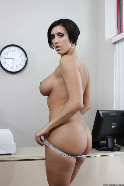 Lusty office MILF Dylan Ryder with huge tits is touching her pussy