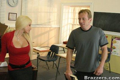 Big titted MILF teacher Gina Lynn bent on her table and banged hard