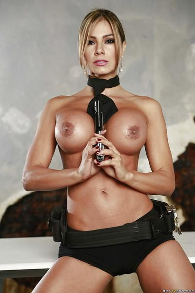 Latina Esperanza Gomez shows off her big tits without police uniform