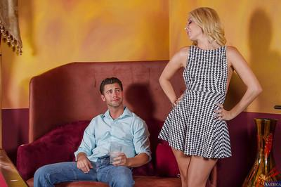 Clothed blonde Aaliyah Love is getting fucked hard in her nice face