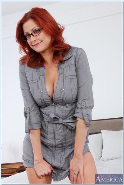 MILF teacher in glasses Lya Pink masturbating her spread cunt