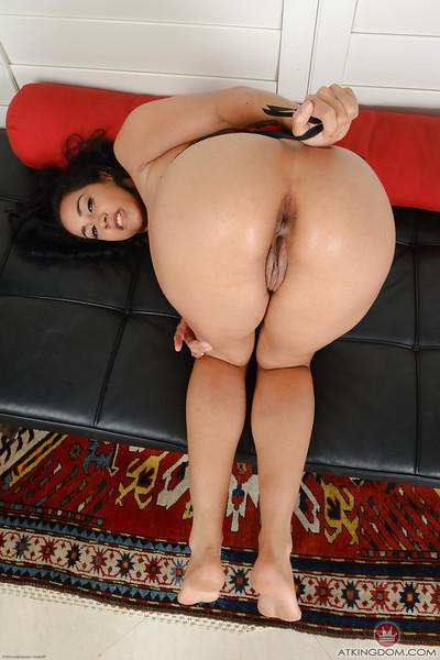 Busty Latina mom Isis Love spreading for close ups of tight asshole