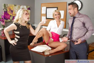 Sexy blondes Aaliyah Love and Ashley Fires in a hardcore 3some