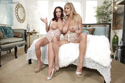 Milf sluts with big tits are having an amazing threesome feat. Ashley Graham