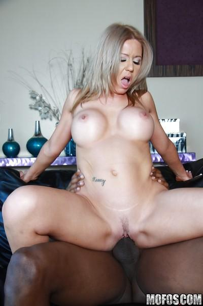 MILF babe with big tits Ashley Winters in hot interracial fucking