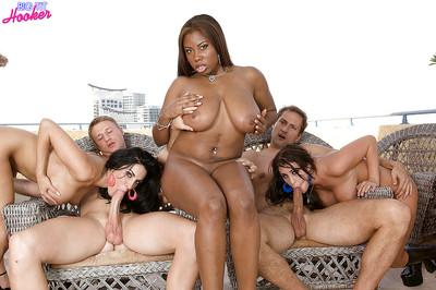 Interracial orgy with busty chubby moms sucking cock and taking anal sex