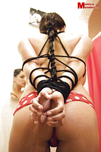Babe Monica Mendez plays out her BDSM fantasies by getting tied up