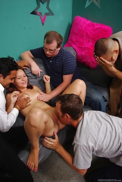 Salacious MILF gets glazed with jizz after hardcore gangbang party
