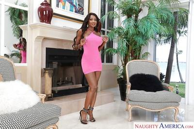 Ebony Milf Diamond Jackson spreading and displaying her very big tits