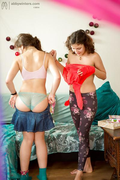 Brunette amateur lesbian teens Anjali and Gala dressing each other sensualy
