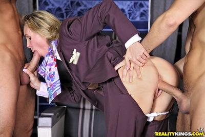 MILF babes in uniform get two stiff cocks for naughty CFNM action