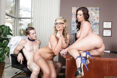 Office threesome groupsex with marvelous milf Phoenix Marie