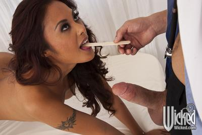 Stunning asian MILF Kaylani Lei sucks and fucks a doctor