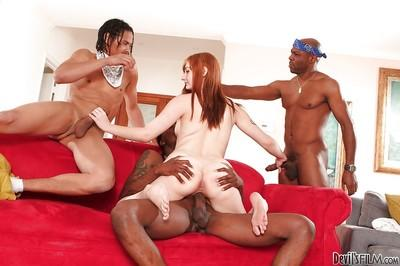 Beauty Violet Monroe is being gangbanged in interracial style