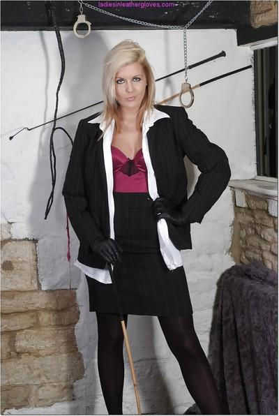 Clothed blond MILF Victoria flashing thing and upskirt panties in dungeon
