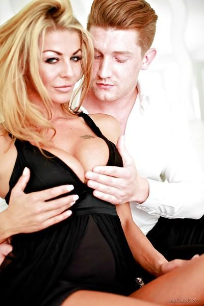 Ravishing blonde cougar gives head and gets her twat slammed tough