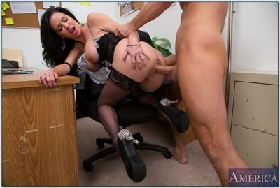 Lusty secretary Veronica Avluv gets her pussy licked and poked hardcore