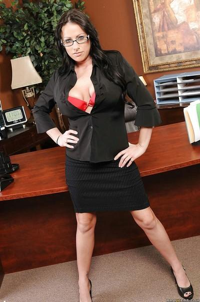 Flirtatious MILF secretary Moxxie Maddron stripping nude in the office