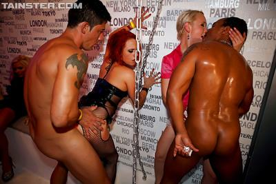 Lecherous gals have some strapon fun at the wild sex party