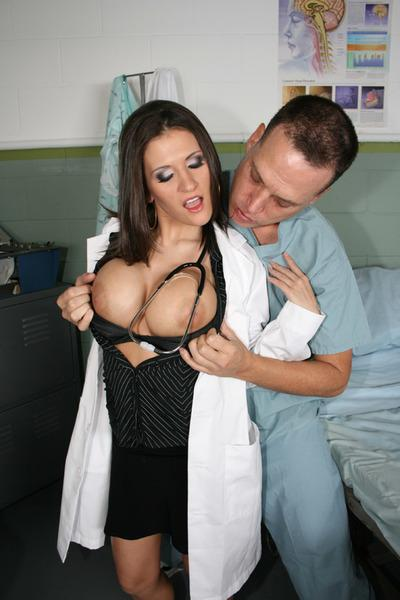 Busty MILF in doctor uniform takes a large dick in her craving pussy