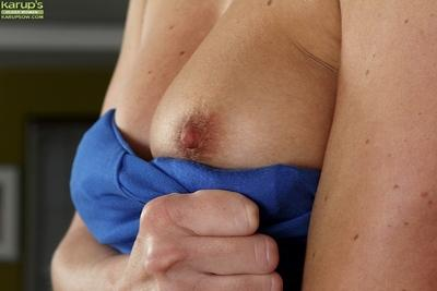 Over 30 blonde mom Chanel spreading shaved pussy up close and personal like