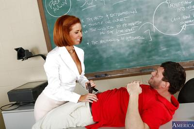 Chippy redhead teacher in nylons gives head and gets nailed after classes