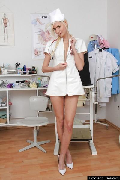 Simone is a skinny nurse that loves masturbating her shaved pussy